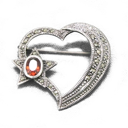 Pin, Sterling, Heart, Star & Marcasite