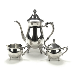 3-PC Coffee Service by Leonard, Silverplate, Floral Design