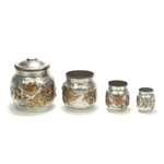4-PC Smokers Set, Silverplate Victorian Hammered Design