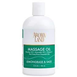 Aromatherapy+ Massage & Body Oil - Lemongrass & Sage 12 oz.