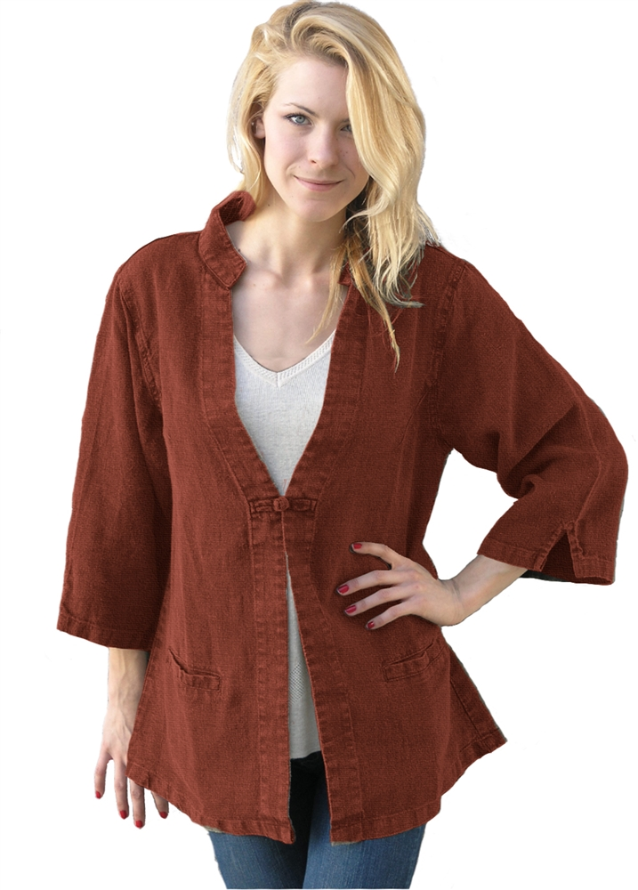 "Tai Chi Jacket in 100% Hemp Summercloth ""Linen"""