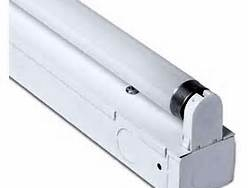 A 2 foot single tube T8 17 watt fluorescent dimming fixture with high quality powder coated white finish