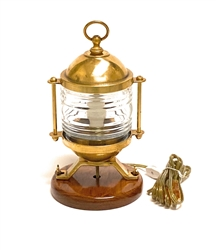 Solid Sand Cast Brass Table Light with Fresnel Lens