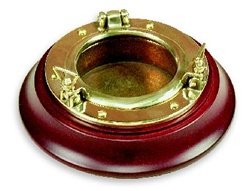 SOLID BRASS OPENING PORTHOLE DRINK COASTER ON MAHOGANY BASE