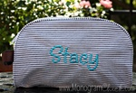 Brown Seersucker Cosmetic Bag