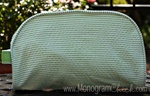 Green Seersucker Cosmetic Bag