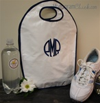 White and Navy Oilcloth Keyhole Tote