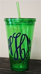 24 oz Personlized Tumbler with Straw :: Green