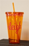 24 oz Personlized Tumbler with Straw :: Orange