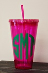 24 oz Personlized Tumbler with Straw :: Pink