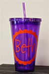 24 oz Personlized Tumbler with Straw :: Purple