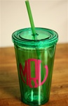 Personalized Tumbler with Straw :: Green