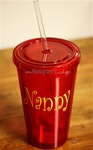 Personalized Tumbler with Straw :: Red