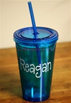 Personlized Tumbler with Straw :: Turquiose