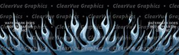 Flame Up Blue Rear Window Graphic