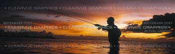 Sunset Cast Fishing Rear Window Graphic