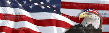 Flag 1 w/ Eagle & Band Patriotic Rear Window Graphic