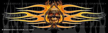 Flaming Ace Skull Tattoo Rear Window Graphic