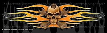 Skull & Wrenches 2 Tattoo Rear Window Graphic