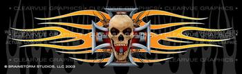 Pistons Skull 2 Tattoo Rear Window Graphic