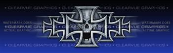 Iron Cross Blue Tattoo Rear Window Graphic