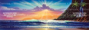 Island Sunrise Ocean Life Rear Window Graphic