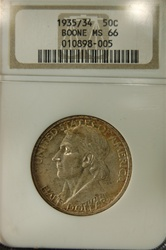 NGC Certified 1935/34 Boone Commemorative Half MS-66