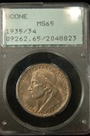 PCGS Certified 1935/34 Half Dollar Daniel Boone Commemorative MS-65