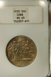 NGC Certified 1935 Connecticut Commemorative Half MS-65