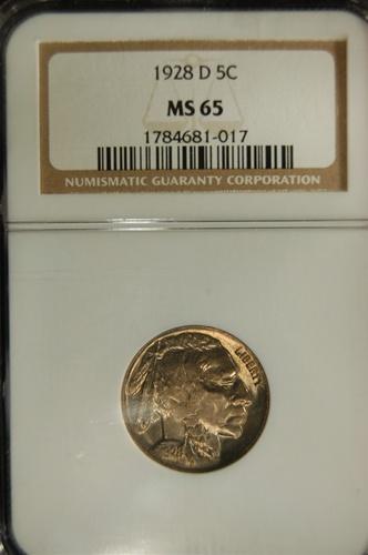 NGC Certified 1928 D Buffalo Nickel MS-65