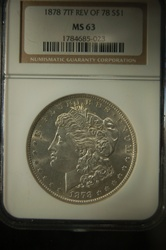 NGC Certified 1878 7TF Rev of 78 Morgan Dollar MS-63