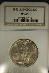 NGC Certified 1925 Half Dollar Lexington-Concord Commemorative MS-65