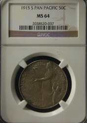 NGC Certified 1915 S Pan-Pacific Commemorative Half Dollar MS-64