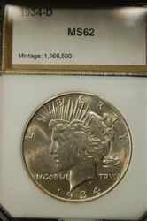 PCI Certified 1934 D Peace Dollar MS-62