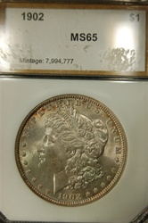 PCI Certified 1902 Morgan Dollar MS-65