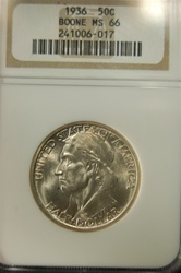 NGC Certified 1936 Boone Commemorative Half MS-66