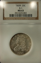 NGC Certified 1828 Bust Quarter B-1 MS-63