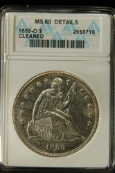 ANACS Certified 1859 O Seated Liberty Dollar MS-60 Details