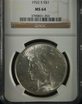 NGC Certified 1922 S Peace Dollar MS-64