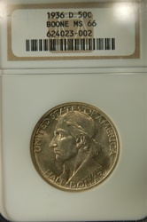 NGC Certififed 1936 D Boone Commemorative Half MS-66