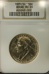 NGC Certified 1935/34 Boone Commemorative Half MS-65