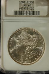 NGC Certified 1881 S Morgan Dollar MS-66
