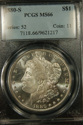 PCGS Certified 1880 S Morgan Dollar MS-66