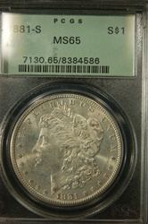 PCGS Certified 1881 S Morgan Dollar MS-65