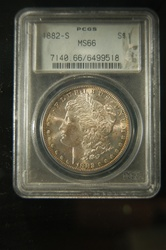 PCGS Certified 1882 S Morgan MS-66 Toned