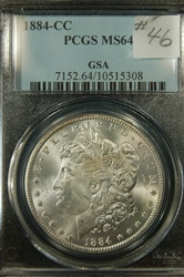 PCGS Certified 1884 CC Morgan Dollar MS-64 GSA Hoard