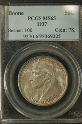 PCGS Certified 1937 Boone Commemorative Half MS-65