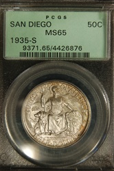 PCGS Certified 1935 S Half Dollar San Diego Commemorative MS-65