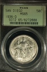 PCGs Certified 1936 D San Diego Commemorative MS-65