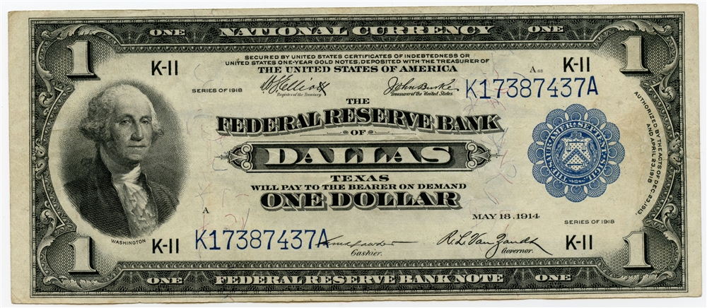 $1 National Currency Note Federal Reserve Bank of Dallas TX Series 1918  XF/AU